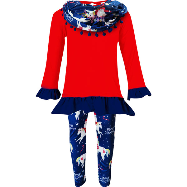 Girls Christmas Santa Unicorn Scarf Outfit Set - Red/Navy