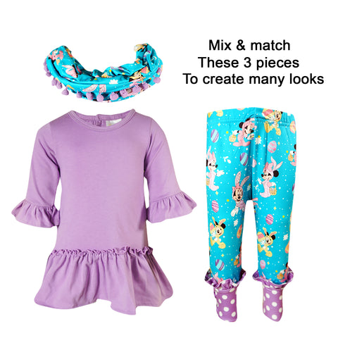 Image of Toddler Little Girls Disney Inspired Minnie Easter Outfit with Scarf - Lavender Turquoise