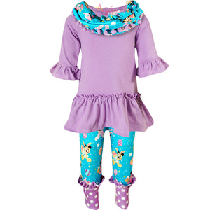 Toddler Little Girls Disney Inspired Minnie Easter Outfit with Scarf - Lavender Turquoise
