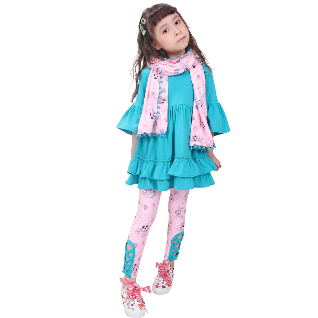 Toddler Little Girls Disney Inspired Minnie Easter Outfit with Scarf - Pink Turquoise