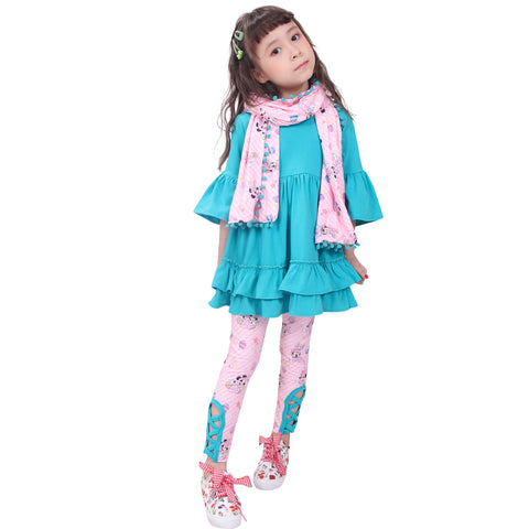 Image of Toddler Little Girls Disney Inspired Minnie Easter Outfit with Scarf - Pink Turquoise