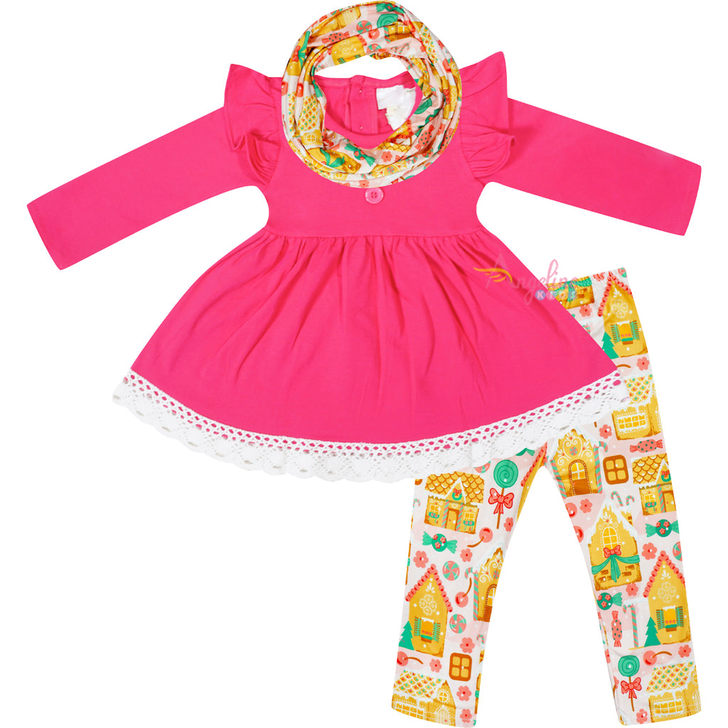 Girls Christmas Gingerbread House Top Leggings Scarf Outfit