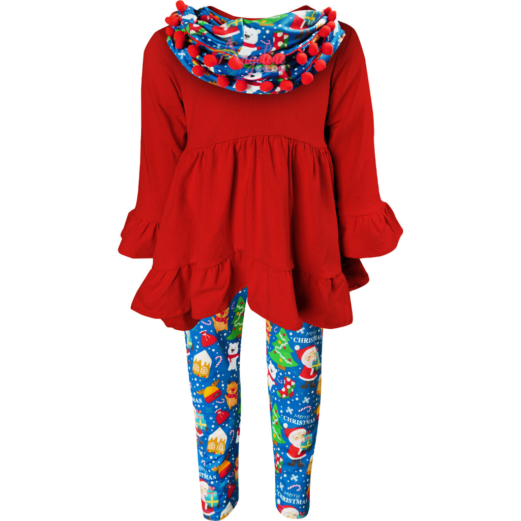 Girls Christmas Santa Gingerbread Scarf Outfit - Red Navy