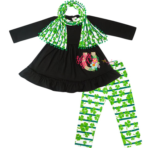 Image of Baby Toddler Little Girls St Patrick Days Lucky Girl Scarf Outfit