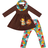 Baby Toddler Little Girls Thanksgiving Floral Turkey Scarf Outfit Set - Brown/Turquoise