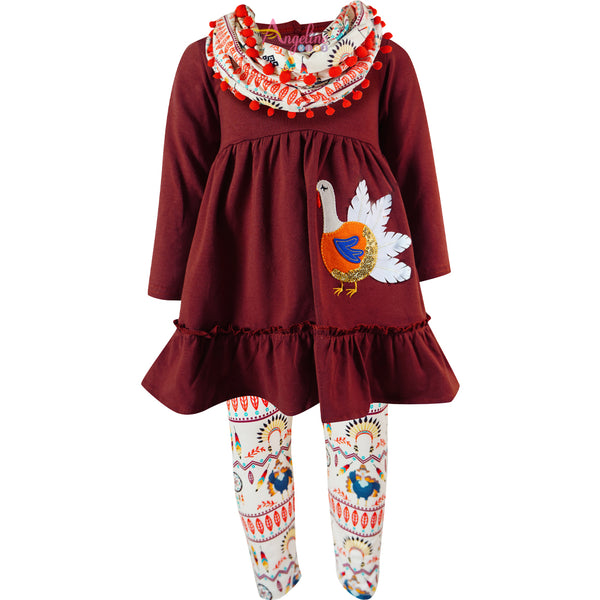 Baby Toddler Little Girls Thanksgiving Turkey Scarf Outfit Set - Brown/Aztec