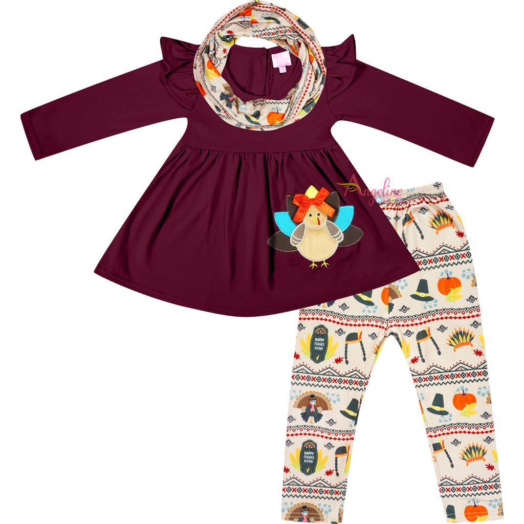 Toddler Little Girls Thanksgiving Aztec Turkey Scarf Outfit - Burgundy Beige