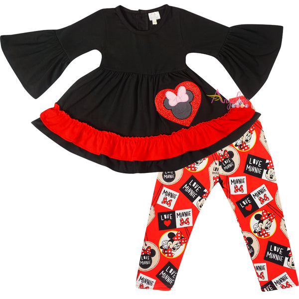 Baby Toddler Little Girls Love Minnie Scarf Outfit - Red Black