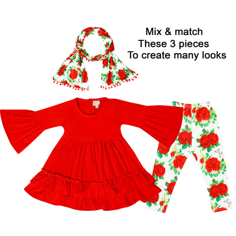 Image of Baby Toddler Little Girls Valentines Roses Scarf Outfit - Red Ivory