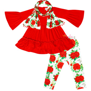Baby Toddler Little Girls Valentines Roses Scarf Outfit - Red Ivory
