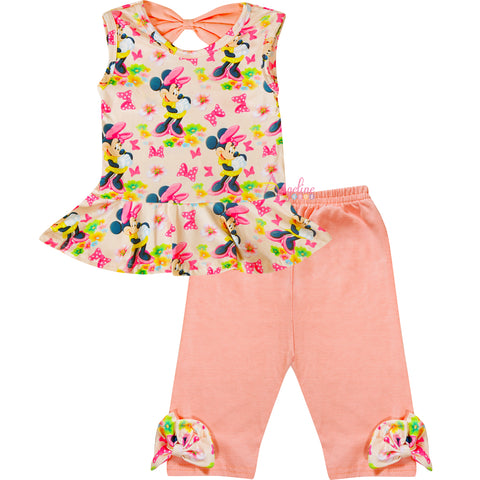 Image of Baby Toddler Little Girls Spring Easter Minnie Mouse Peplum Top Capri Pants Set - Coral