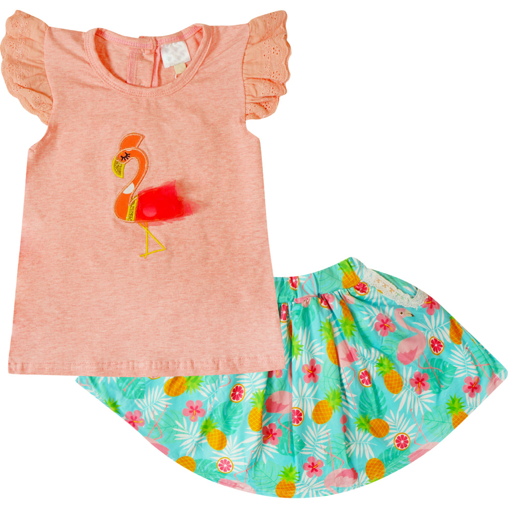 Baby Toddler Little Girls Flamingo Skirt Set - Coral Aqua