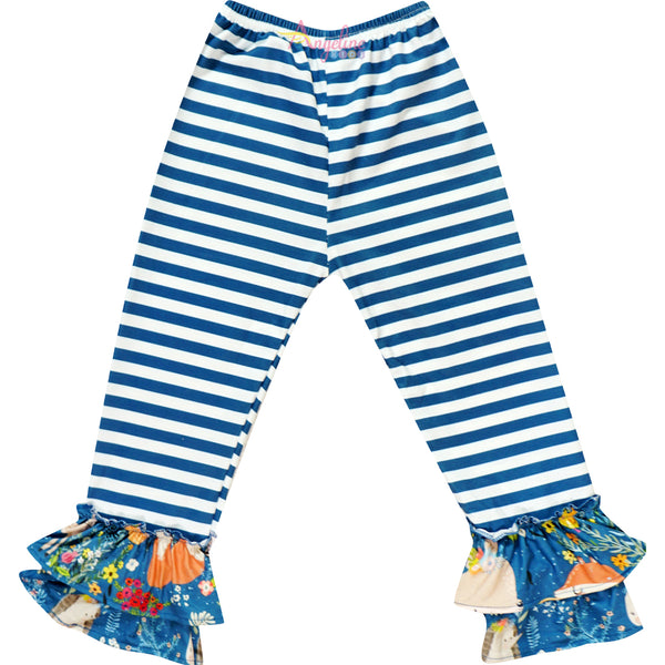 Baby Toddler Little Girls Give Thanks Top & Pants Set - Ivory Teal Stripes
