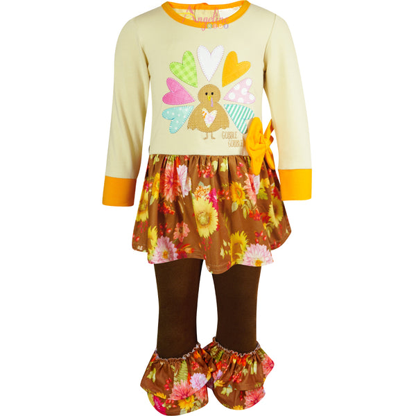 Baby Toddler Little Girl Thanksgiving Gobble Turkey Skirted Top Pant Set - Brown