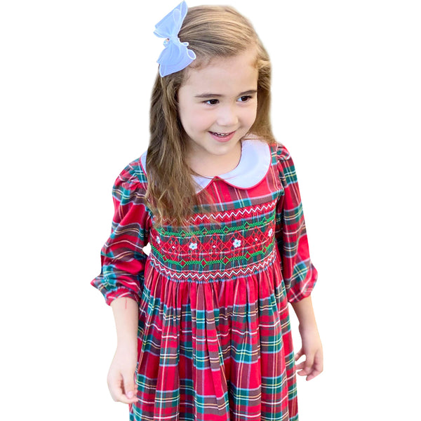 Girls Merry Christmas Red Green Tartan Plaid Smocked Dress