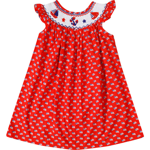 Image of 4th July Independence Day Patriotic American Flag Hand - Smocked Dress