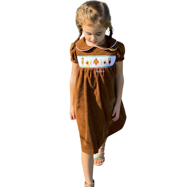 Thanksgiving Turkey Tribal Native American Girls Smocked Corduroy Brown