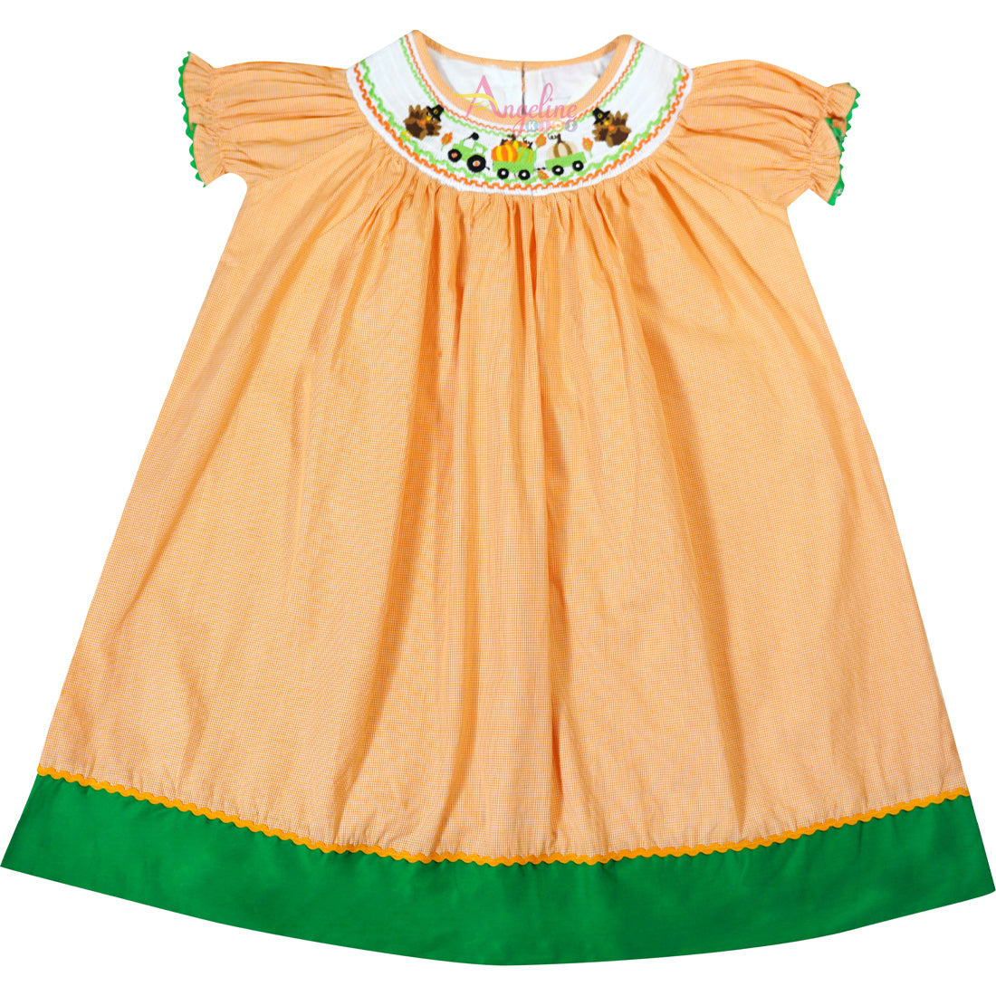 Baby Toddler Little Girl Thankskgiving Turkey & Pumpkin Tractor Gingham Bishop Dress - Orange/Green