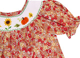 Baby Girls Fall Floral Sunflower Pumpkin Smocked Bishop Dress - Floral