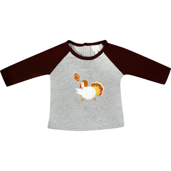 Baby Toddler Little Boys Thanksgiving Football Turkey Raglan  Tee Shirt - Gray/Brown