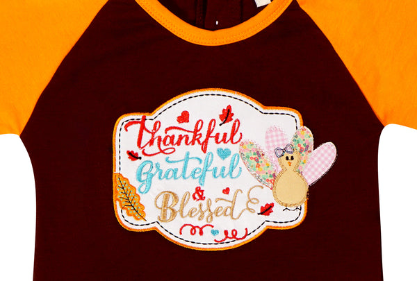 Girls Thanksgiving Thankful Grateful & Blessed Ruffle Raglan Tee