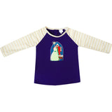 Girls Christmas Holy Night Baby Jesus Raglan Tee Shirt Purple/Stripes