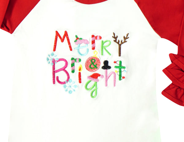 Girls Holidays Thanksgiving Christmas Halloween Ruffle Raglan Tshirts Fashion Tops