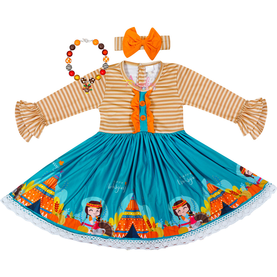 Baby Toddler Little Girls Thanksgiving Turkey Stripes Dress with Free Headband