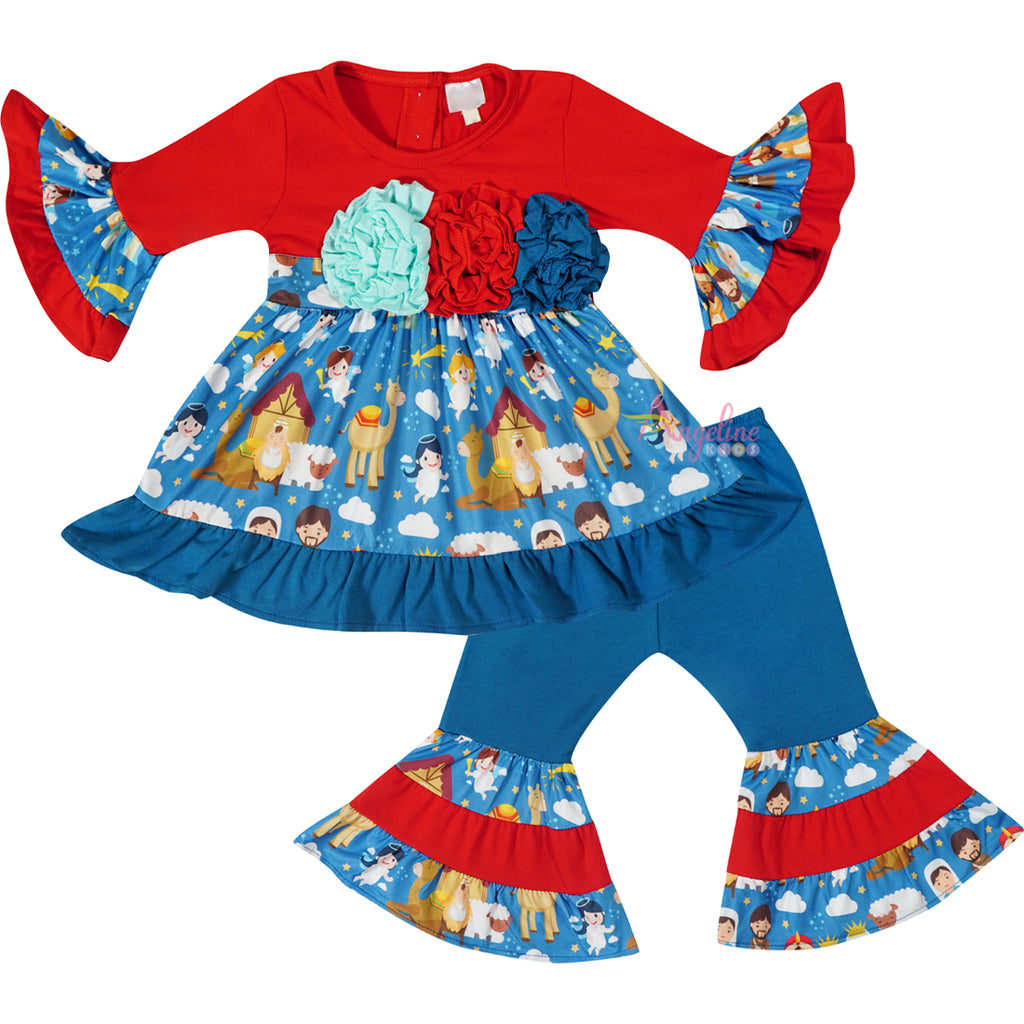Girls Christmas Nativity Scene Angels Ruffle Top & Pants Set - Teal Red
