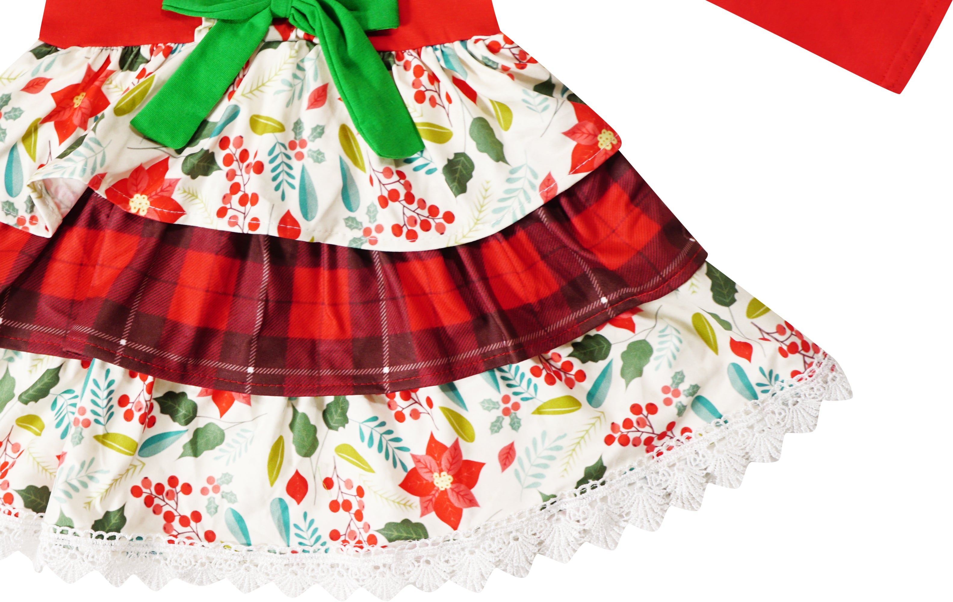 Girls Christmas Holiday Ruffle Tiered Tunic Top Pants Set - Red