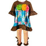 Girls Fall Colors Thanksgiving Floral Ruffle Top Pants Set - Heather Brown