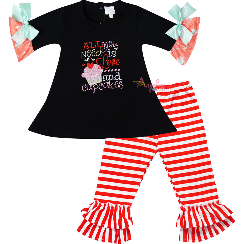 Baby Toddler Little Girls Valentines Day All You Need Is Love and Cupcakes Tunic Pant Set Black/Stripes
