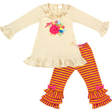Baby Toddler Little Girls Thanksgiving Turkey Ruffle Top Pants Set w/ Free Headband - Ivory Fuchsia Stripes
