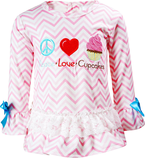Baby Toddler Little Girls Valentines Peace Love Cupcake Ruffle Top Pants Set Pink Chevron