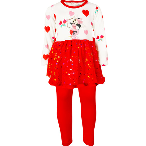 Image of Baby Toddler Little Girls Valentines Minnie Cupid Tutu Leggings Set