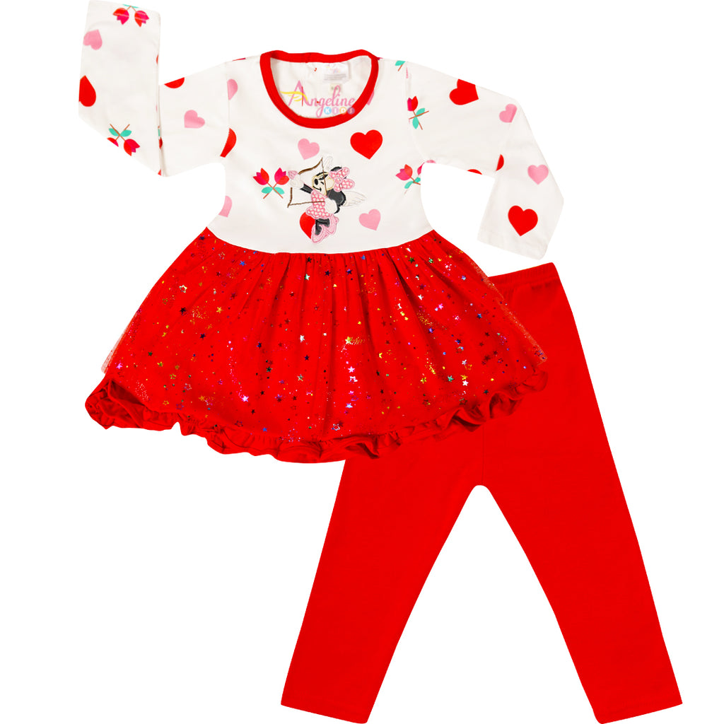 Baby Toddler Little Girls Valentines Minnie Cupid Tutu Leggings Set