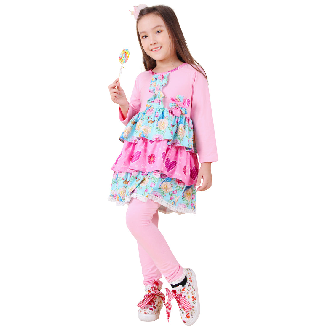 Baby Toddler Little Girls Valentines Day Spring Floral Heart Tiered Leggings Set - Pink