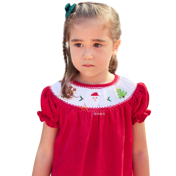 Baby Girls Chrismas Holiday Hand Smocked Corduroy Bishop Dress