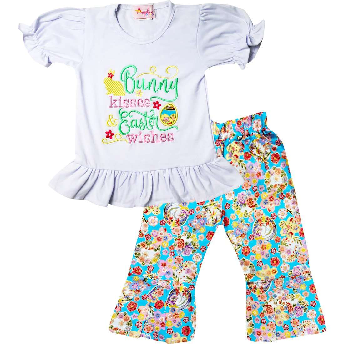Angeline Kids:Baby Infant Girls Spring Blossom Bunny Kisses Easter Wishes Ruffles Top Pants Set