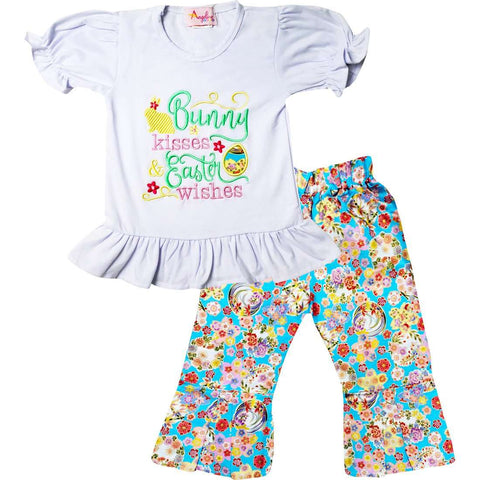 Image of Angeline Kids:Baby Infant Girls Spring Blossom Bunny Kisses Easter Wishes Ruffles Top Pants Set