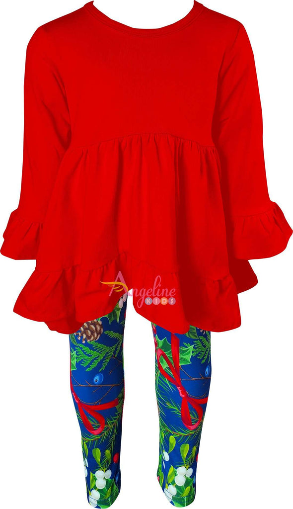 Angeline Kids:Baby Little Girl Christmas Poinsettia Scarf Set - Red/Navy