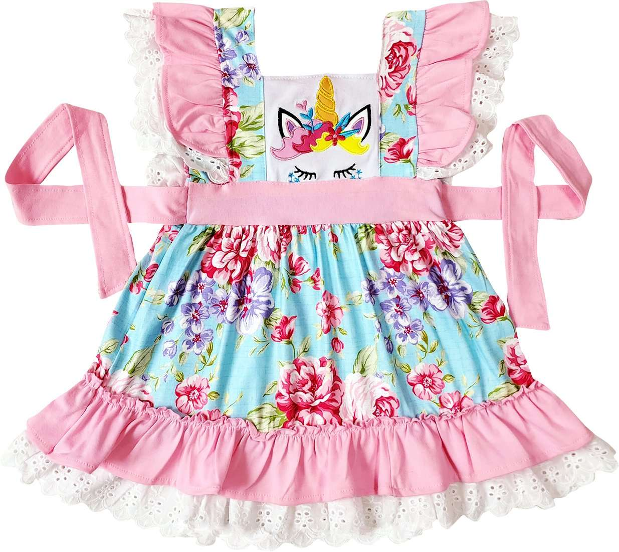 Angeline Kids:Baby Little Girls Boutique Floral Unicorn Ruffle Dress Legging Set