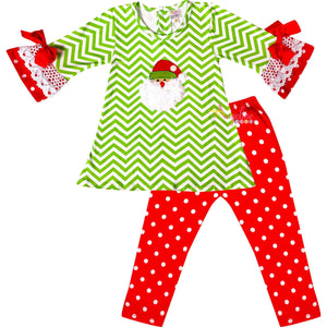 Angeline Kids:Baby Toddler Little Girls Christmas Santa Polka Dot Chevron Outfit - Lime Red