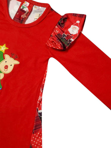 Angeline Kids:Baby Toddler Little Girls Christmas Tree & Reindeer Top Pants Set - Red Lime Stripes