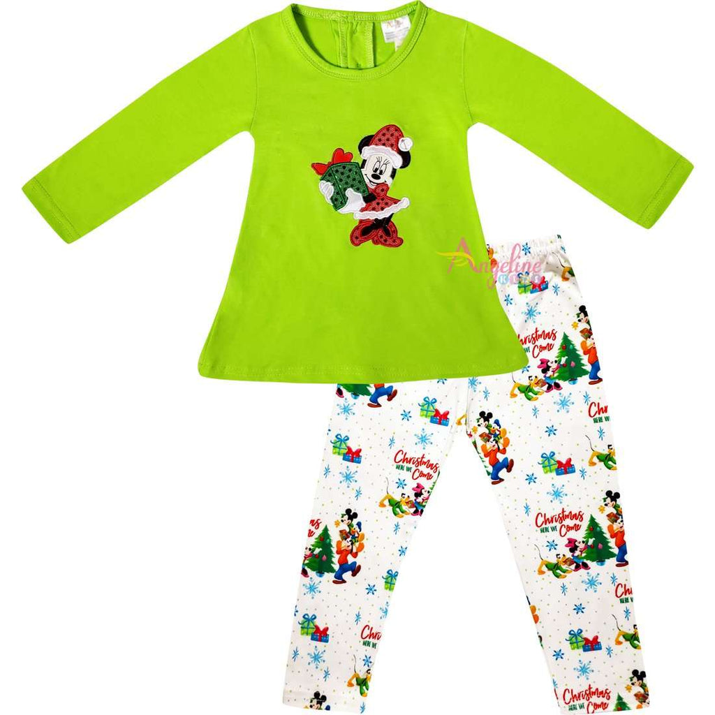 Angeline Kids:Baby Toddler Little Girls Disney Christmas Minnie Mouse Gift Tunic Legging Set - Lime