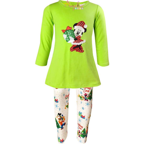 Image of Angeline Kids:Baby Toddler Little Girls Disney Christmas Minnie Mouse Gift Tunic Legging Set - Lime