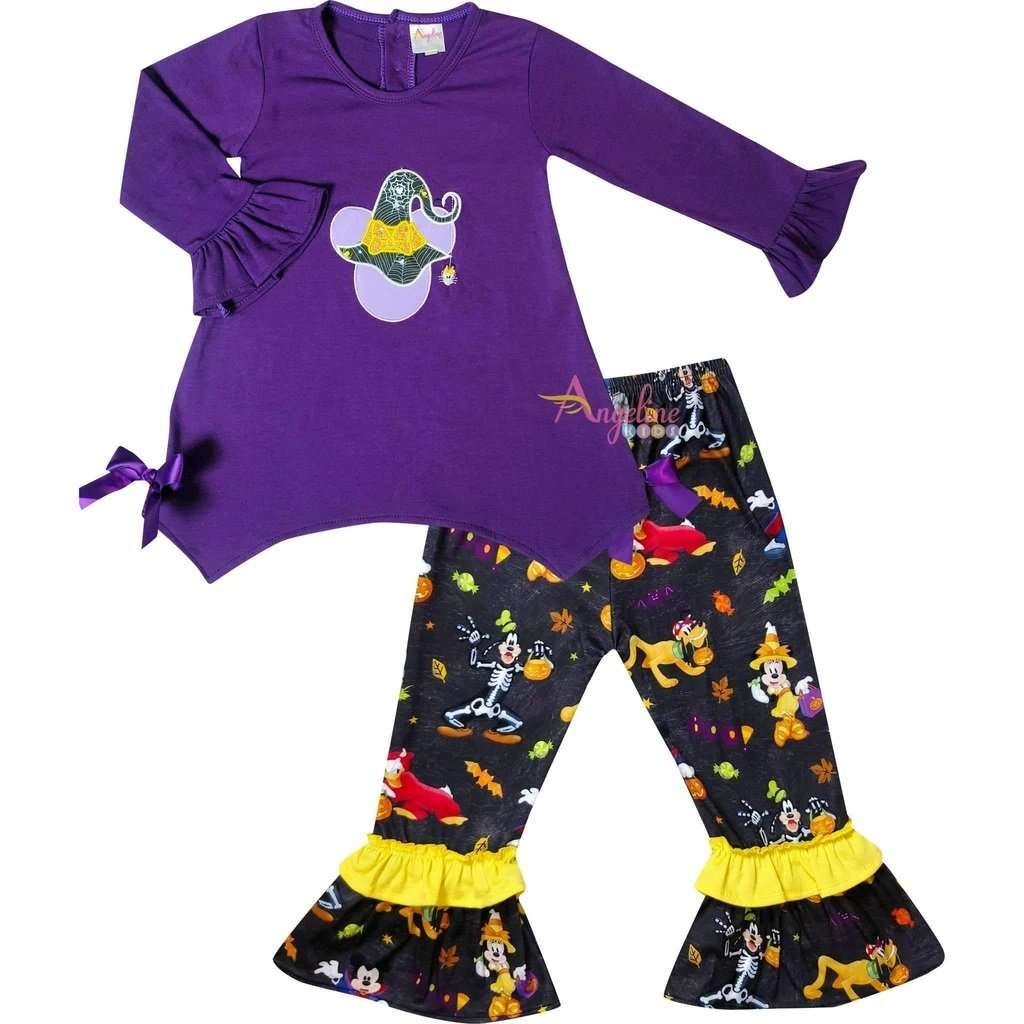 Angeline Kids:Baby Toddler Little Girls Disney Halloween Minnie Mouse Pant Set - Purple