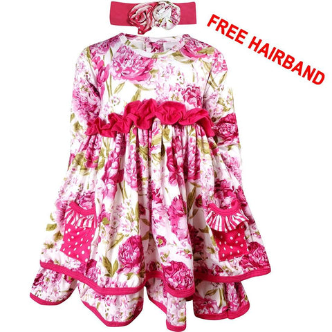 Angeline Kids:Baby Toddler Little Girls Peony Flower Christmas Dress Hot Pink