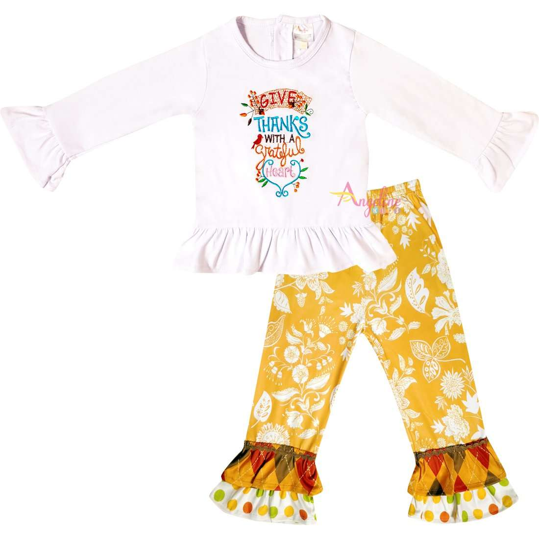 Angeline Kids:Baby Toddler Little Girls Thanksgiving Give Thanks With A Grateful Heart Pant Set