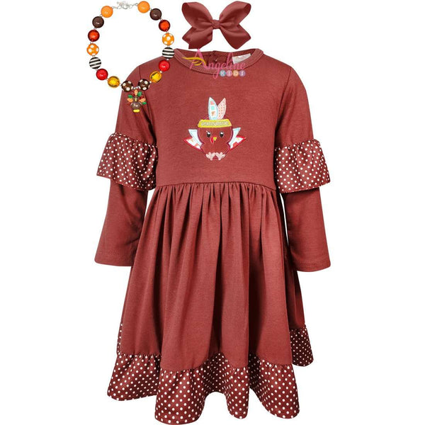 Angeline Kids:Baby Toddler Little Girls Thanksgiving Indian Turkey Necklace Bow Set